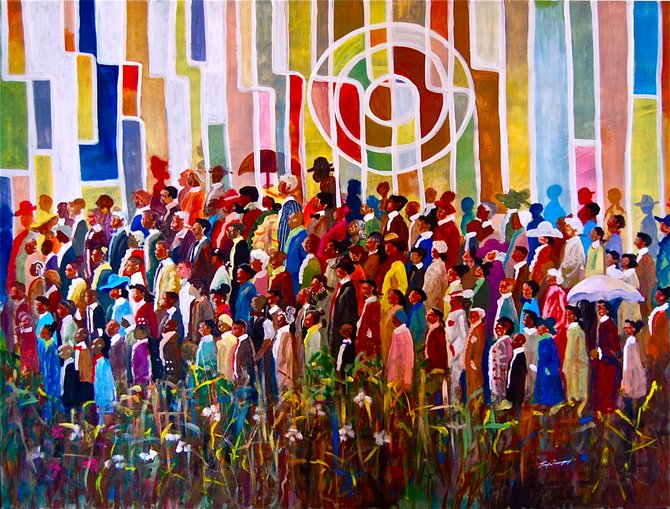 """JSU alum Tony Davenport will showcase his art, including the pictured """"Sunday's Best,"""" at the Sidewalk Soiree Aug. 31."""