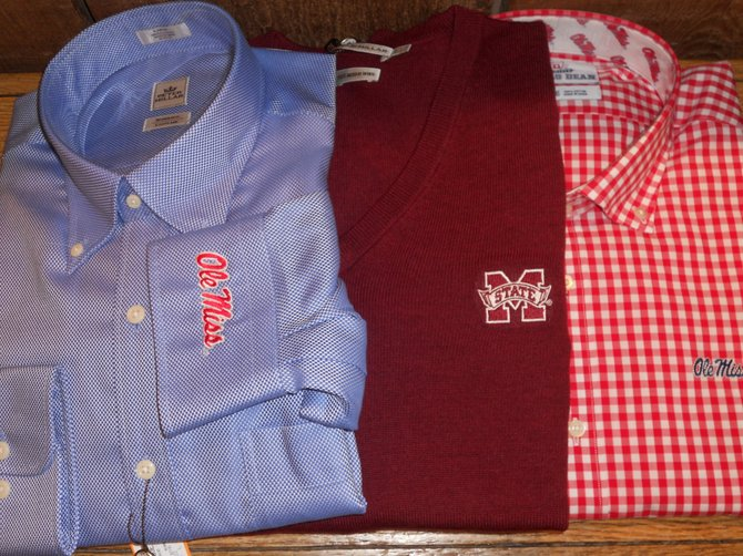 Thomas Dean Collegiate Collection shirts and a sweater will keep you stylish while showing your spirit.