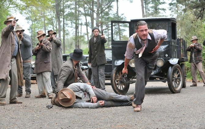 """Shia LeBeouf, who plays moonshiner Jack Bondurant (foreground), is part of an all-star cast in """"Lawless,"""" a film with a loose Mississippi connection."""