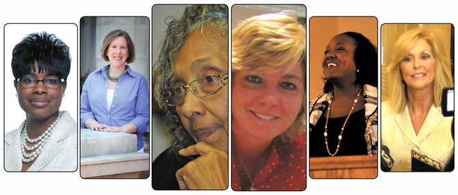 Among the women in Mississippi politics are (above, left to right):  state Rep. Adrienne Wooten, activist Atlee Breland, Rep. Alyce Clark, activist Cristen Hemmins, former Greenville Mayor Heather McTeer and state Treasurer Lynn Fitch.