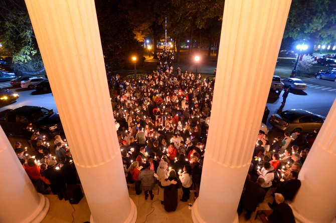 The day after a tense Election Day protest at Ole Miss, about 700 students came together in a show of unity.