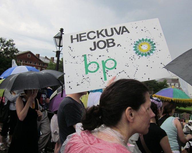 A NOLA BP oil flood protest.