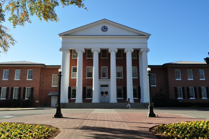 The Lyceum is the University of Mississippi's main administrative building. Constructed in 1848, the building housed a Confederate hospital during the Civil War and served as headquarters for federal troops when a riot erupted in 1962 over the enrollment of the first black student, James Meredith.
