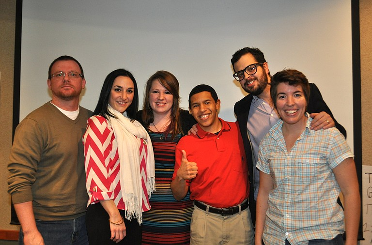 (From left) John Dolan, Mikel Mangipano, Chelsea Thomas, Bryan Tenort, Craig Kinsley and Valerie Blakey created Startup Weekend's winning pitch: AudiTour.