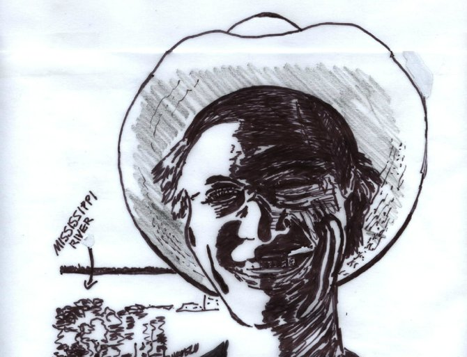 Writer Daddy B. Nice (seen here as a sketch, like those common to his website) spreads the word about southern soul on southernsoulrnb.com.