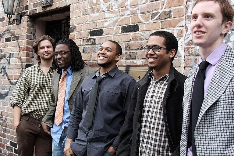 The Session, including (from left) James Partridge, Stephen Lands, Darrian Douglas, Jason Weaver and Andrew McGowan, plays this weekend at the Yellow Scarf Listening Room.
