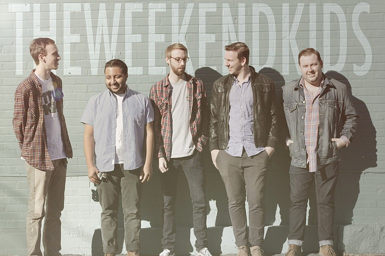 Although they live in different cities across the state, members of The Weekend Kids (left to right: Cody Bass, Salar Almakky, Travis Bass, Hayden Boyd and Micah Boyd) unite in Jackson to make music.