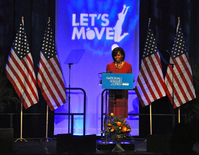 First lady Michelle Obama praised Mississippi schools for working toward healthier lunches.