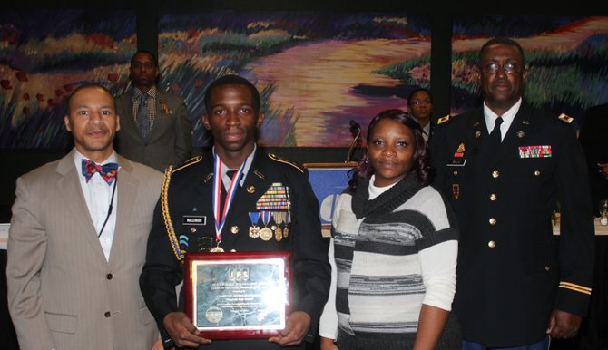 Cadet Col. Seggie McClendon (second from left)