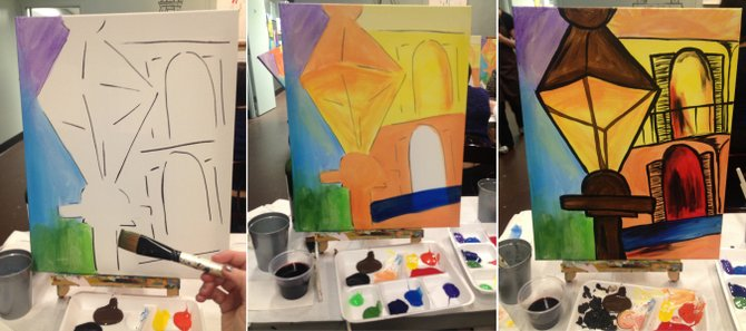 Leaving with a finished painting is one of the best parts about classes at Artful Hours or Easely Amused.
