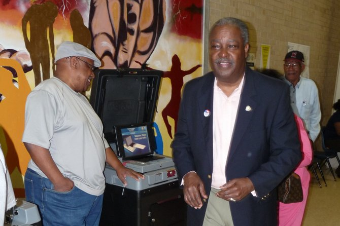 Incumbent Mayor Harvey Johnson Jr. cast his primary vote Tuesday  morning at Callaway High School.