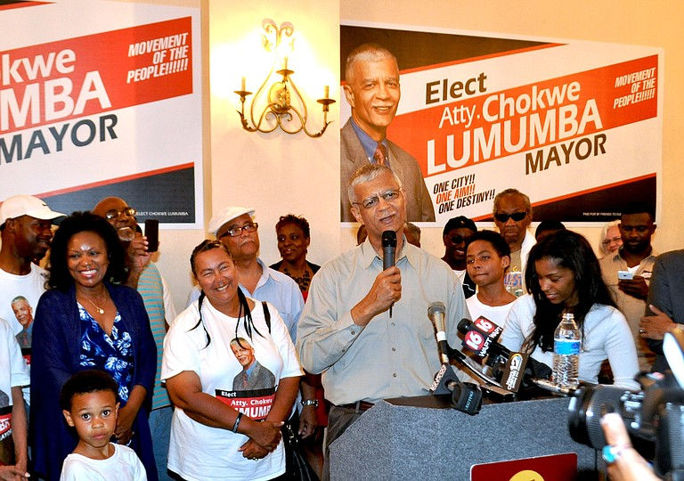 Lumumba speaks on election night.