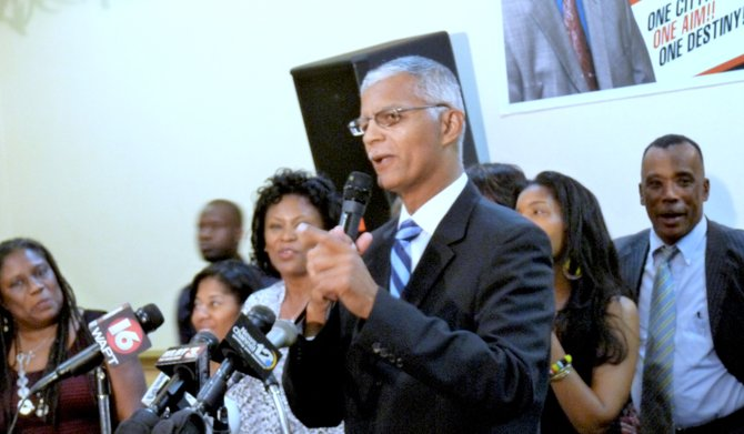 The atmosphere in the Clarion Hotel's ballroom was electric moments before Chokwe Lumumba arrived on the scene to celebrate his election victory Tuesday. Lumumba was officially Jackson's next mayor.