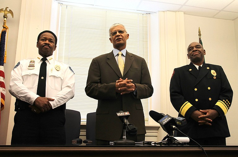 Mayor Chokwe Lumumba announced the nominations of Lindsey Horton, new police chief (left), and Willie Owens, new fire chief (right) a week before they had taken the oath of office.
