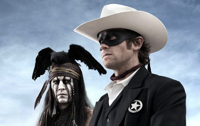 """""""The Lone Ranger"""" stars Johnny Depp (left) as Tonto and Armie Hammer as the masked man."""