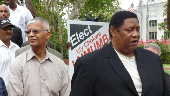 """District 5 Supervisor Kenneth Stokes (right) said even though the county has been pouring """"millions of dollars"""" into buying land for the Byram-Clinton Parkway, he has seen little interest from business developers to relocate along the proposed parkway."""