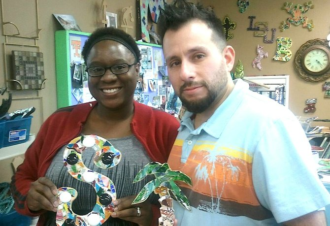 My wife, ShaWanda, and I spent an afternoon being creative at the Mosaic Shop in Jackson for our Valentine's date.