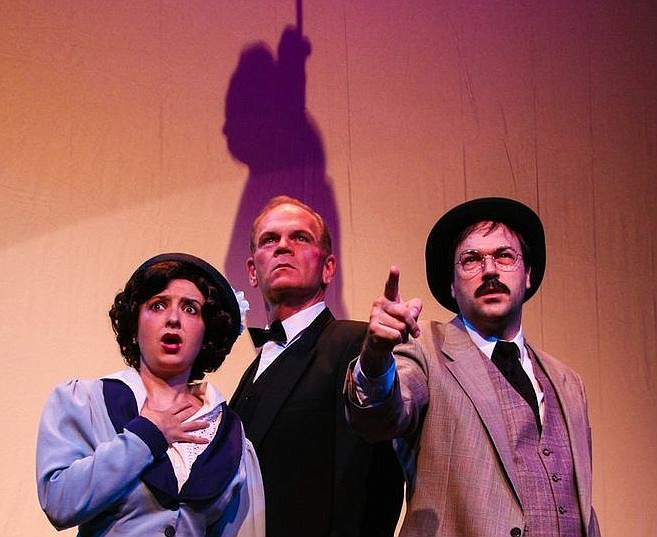 """Beth Kander, Ray McFarland and John Howell star in """"Sherlock Holmes and the Adventure of the Suicide Club"""" at New Stage Theatre."""