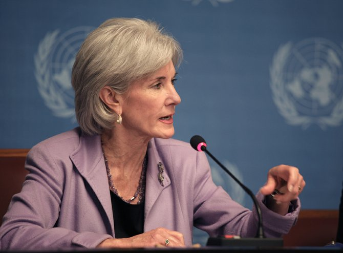 While experts such as Health and Human Services Secretary Kathleen Sebelius (pictured) say premiums vary across the states and even within states, the analysis pegged the national average for an individual at $328 a month for a midlevel policy called a silver plan, before subsidies are factored in.