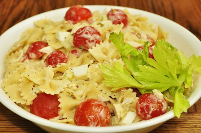Fresh veggies from the farmers market pair perfectly with bow-tie pasta.