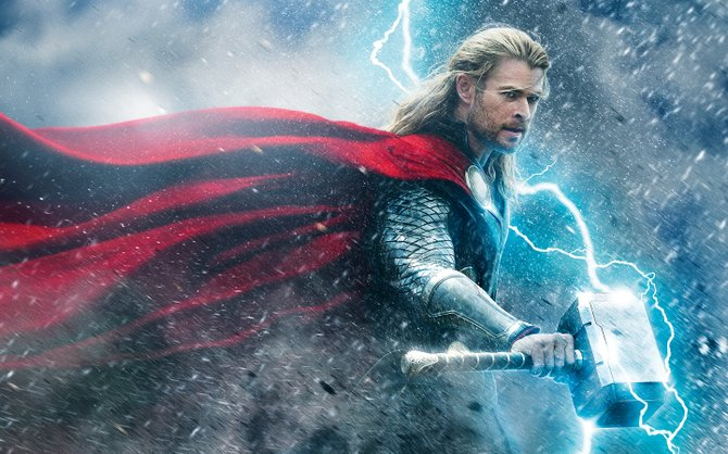 """As the title character, Chris Hemsworth wields a mighty hammer in """"Thor: The Dark World."""""""