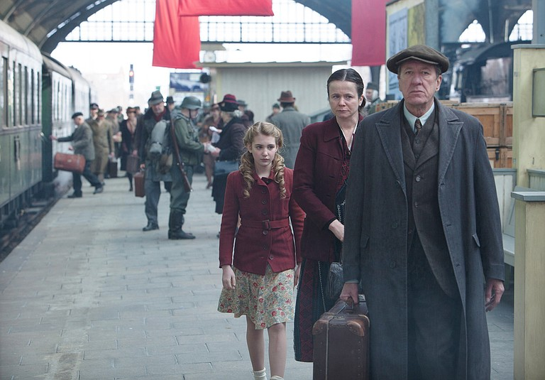 Liesel (Sophie Nélisse) finds a new home in wartime with Rosa (Emily Watson) and Hans (Geoffrey Rush).