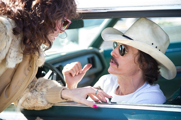 "Jared Leto (left) and Matthew McConaughey deliver Oscar-worthy performances as people living with AIDS in the '80s in ""Dallas Buyers Club."""