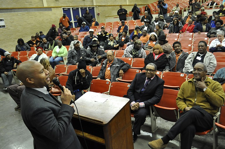 Jackson Public Schools Superintendent Cedrick Gray met with JPS bus drivers on the ninth day of a city-wide strike.