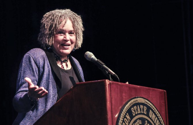 Charlayne Hunter-Gault spoke at the Martin Luther King, Jr. birthday convocation on the campus of Jackson State University.