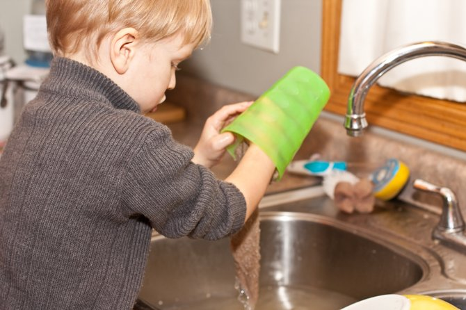 Get kids involved in helping out around the house at an early age.