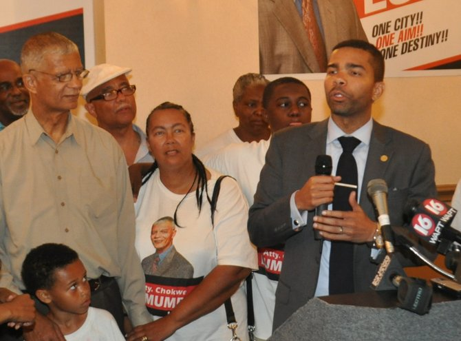A graduate of the historically black Tuskegee University in Alabama and Thurgood Marshall School of Law in Houston, Chokwe Antar (right) would likely have his father's grassroots political machine behind him, not to mention his name.