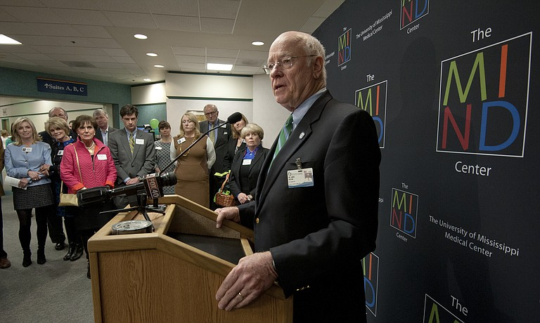 Dr. James E. Keeton, Vice Chancellor for Health Affairs and Dean of the School of Medicine at UMMC, spoke at the opening of the new MIND Center clinic.