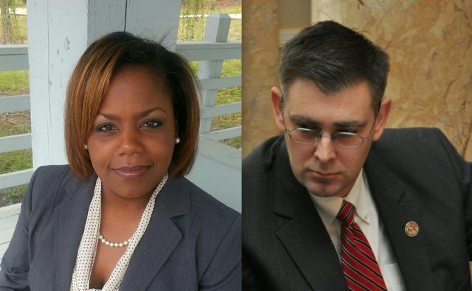 Jennifer-Riley Collins (left), executive director of the ACLU of Mississippi, believes the so-called Religious Freedom Restoration Act holds open the potential for legalized discrimination despite the House's removal of a controversial provision. Republican Rep. Andy Gipson of Braxton (right) maintains the bill protects religious rights and should be further studied.