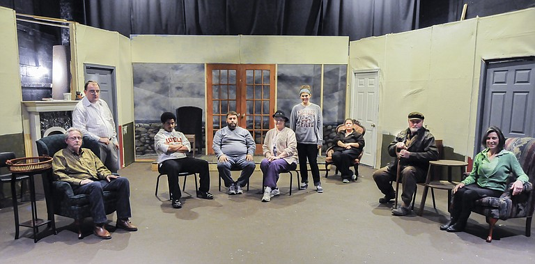 """(From left) Dwight Turner, Jordon Hillhouse, Hilton Smith, Tom Lestrade, Charli Bardwell, Heather Barnes, Gina Winstead, Michael Gibbs and Debbi Ethredge star in Black Rose Theatre's upcoming production of """"And Then There Were None."""""""