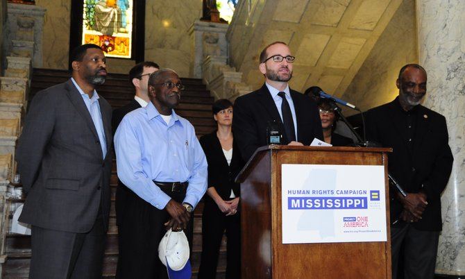 Chad Griffin, president of the Human Rights Campaign and at the microphone, is a southerner and hopes to bring equality to Mississippi and other southern states.