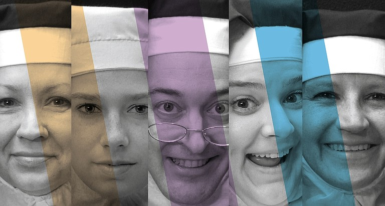 "Black Rose Theatre's production of ""Nunsense"" includes cast members (from left) Lynn Gibbs, Paula Ishee, Tommy Hoffman, Lauri Gregory-Trott and Samantha Gregory."