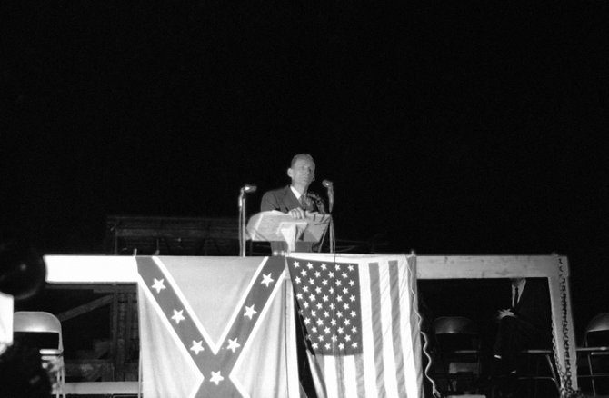 """In May 1964, United Klans of America Imperial Wizard Robert Shelton wooed hundreds of Pike County citizens into choosing his Klan organization over that of Sam Bowers of Laurel. The UKA terrorized the county, earning it the moniker """"Bombing Capital of the World."""""""