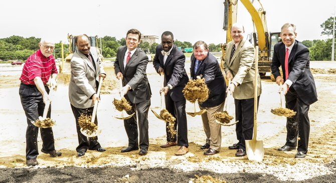 Holder Properties broke ground yesterday on what will be One Eastover Center, a five-story, 120,000-square-feet office building located in the District at Eastover along Eastover Drive and I-55 Frontage Road.