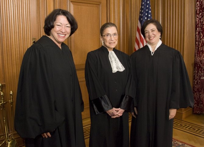 U.S. Supreme Court Justices (left to right) Sonia Sotomayor, Ruth Bader Ginsburg and Elena Kagan wrote a forceful dissent in a case that gave a private religious college flexibility not to comply with the contraceptives mandate in the Affordable Care Act.
