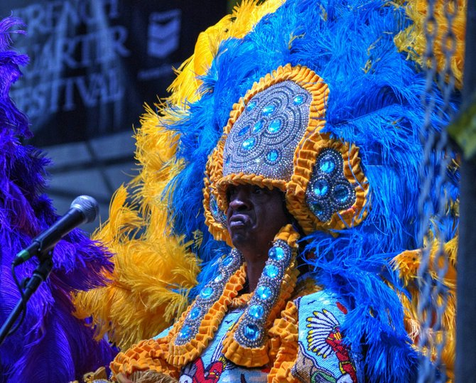 Bo Dollis Jr. and Spyboy James (pictured), members of the world-renowned Wild Magnolias, mix Mardi Gras history with modern innovation.