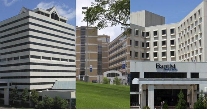 St. Dominic Hospital (left), University of Mississippi Medical Center (middle) and Baptist Medical Center (right)