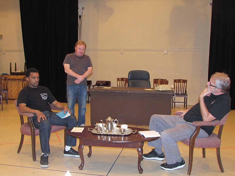 """From left: Delance Minefee (Martin Luther King Jr.), Chris Roebuck (Walter Jenkins and Will Colmer) and Mitch Tebo (Lyndon Johnson) star in New Stage Theatre's production of Robert Schenkkan's politically charged play, """"All the Way."""""""