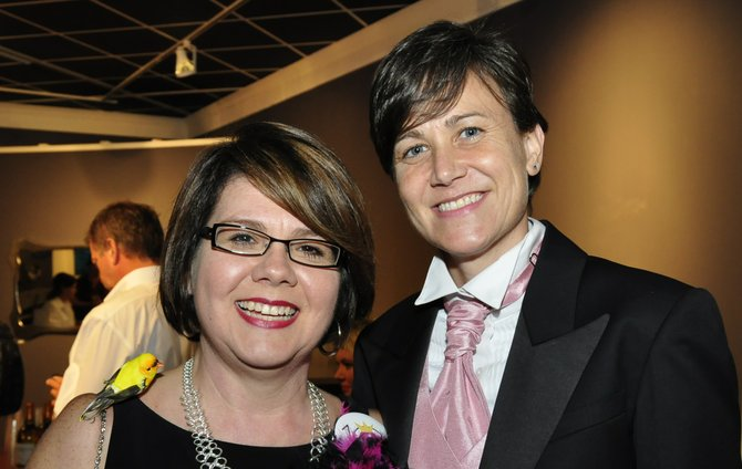 "Jocelyn ""Joce"" Pritchett (left) and Carla Webb (right) live in Mississippi and married in Maine in 2013. This photo is from the July 2014 JFP Chick Ball, which named Pritchett a ""Chick We Love."""