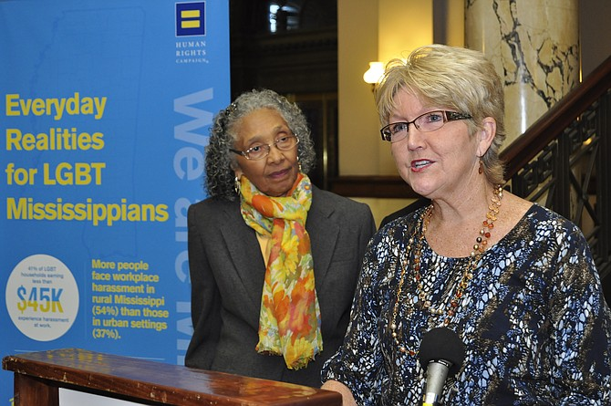 "Democratic State Rep. Alyce Clarke (left) and Mary Jane Kennedy (right), a Southern Baptist mother, have joined HRC's campaign ""All God's Children."" Kennedy said she got involved to tell the story of her son, who is gay, and how he motivated her to minister to the LGBT community and spread God's love."