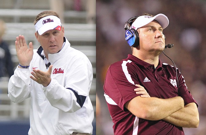Mississippi State University head coach Dan Mullen (right) leads the Bulldogs against Ole Miss and Hugh Freeze (left) in the 87th Egg Bowl, the beloved matchup of Mississippi rivals.