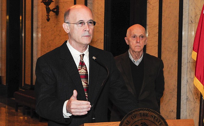 Sen. Hob Bryan, D-Amory (left), told media at the Capitol this morning that making these budget priorities must be a bipartisan effort. Rep. Cecil Brown, D-Jackson (right), opened by expressing his surprise that the budget proposal for 2015 includes cuts to all levels of education funding.