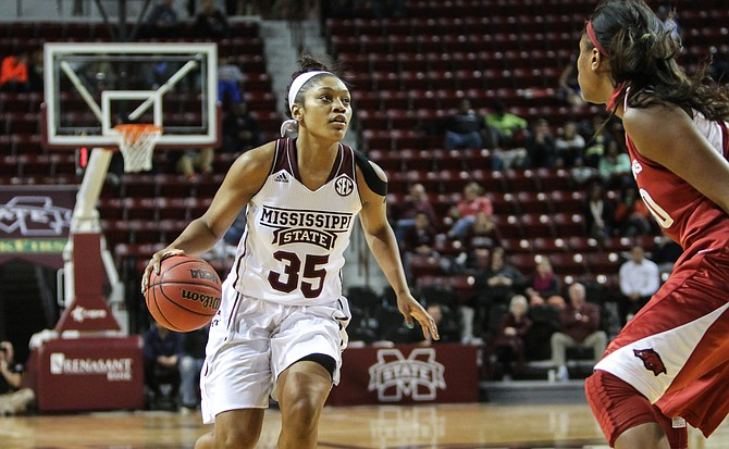 After an award-winning high-school basketball career, Mississippi State University freshman Victoria Vivians has helped her team achieve a record season. Photo courtesy MSU Athletics