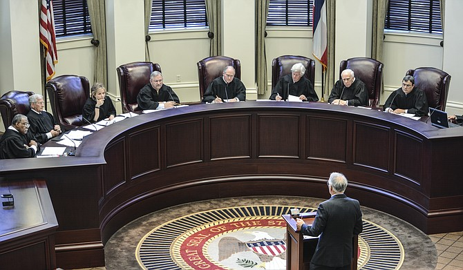 """""""This is a peculiar situation,"""" said Carey Varnado (pictured; addressing the court), an attorney for a Mississippi woman who wants to divorce her wife, considering the marriage-equality cases currently before the 5th U.S. Circuit Court of Appeals and the U.S. Supreme Court."""