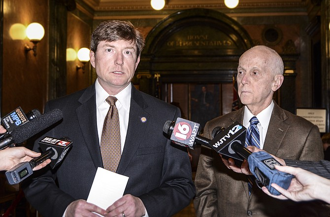 Rep. David Baria, D-Bay St. Louis (left), is introducing legislation this session to help parents of students with special needs understand their rights and improve graduation rates among those students. He is pictured with Rep. Cecil Brown (right).