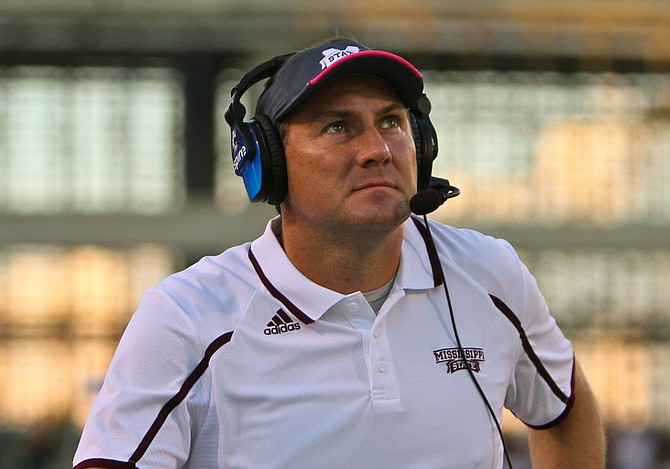 Dan Mullen spoke at this year's Metro Jackson College Fair alongside Dak Prescott (not pictured) and Jay Hughes (not pictured).
